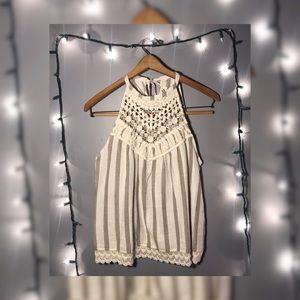 Listicle S Cream Linen Tank w Crochet Neckline